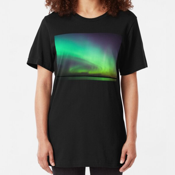 Northern lights over lake in Finland Slim Fit T-Shirt