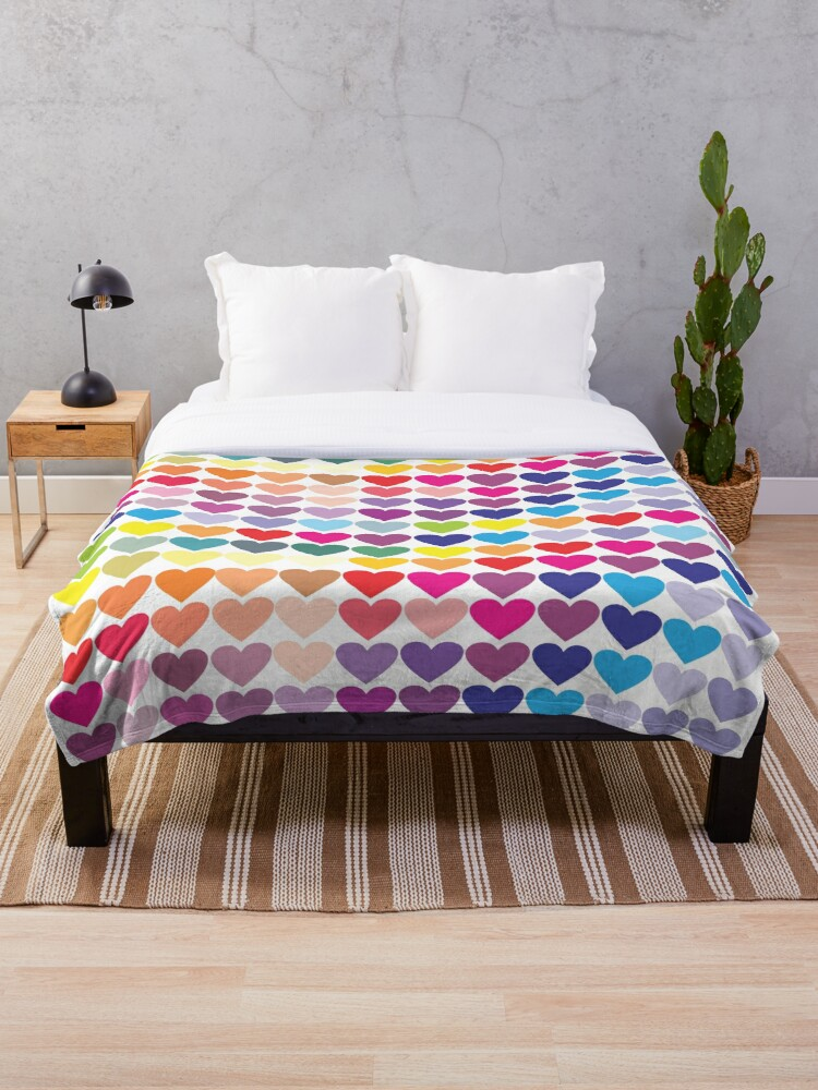 'rainbow hearts ' Throw Blanket by onjcdesign