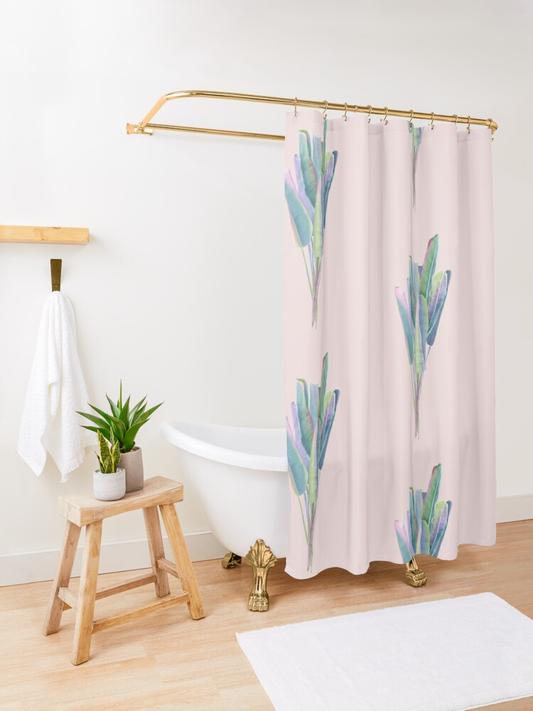 Alternate view of banana leaves pattern Shower Curtain