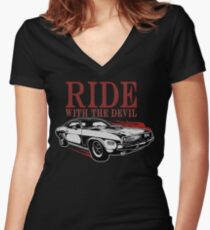 Ride With The Devil Tailliertes T-Shirt mit V-Ausschnitt