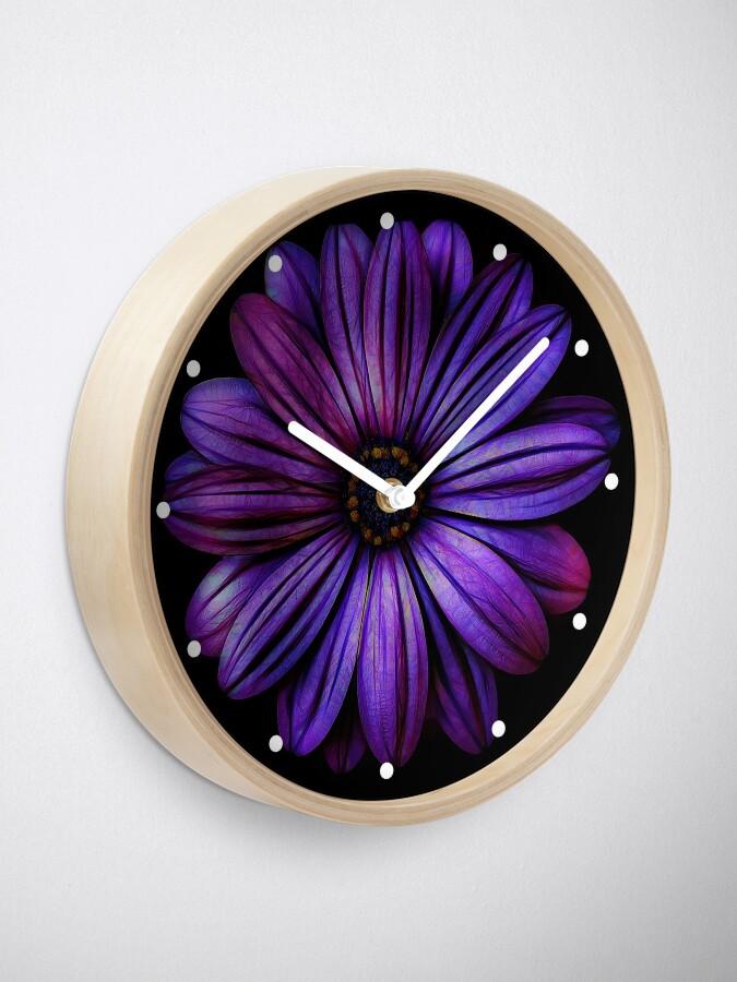 Alternate view of Big Purple Flower Pretty Floral Clock