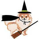 Pomeranian Witch - halloween dog, pom dog sticker, pomeranian sticker, halloween dog sticker, dog sticker, dogs by PetFriendly