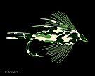 Green Camo Fly - Art by Marcia Rubin