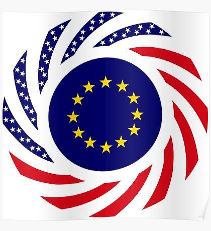 European American Multinational Patriot Flag Series Poster
