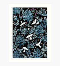 white birds garden Art Print