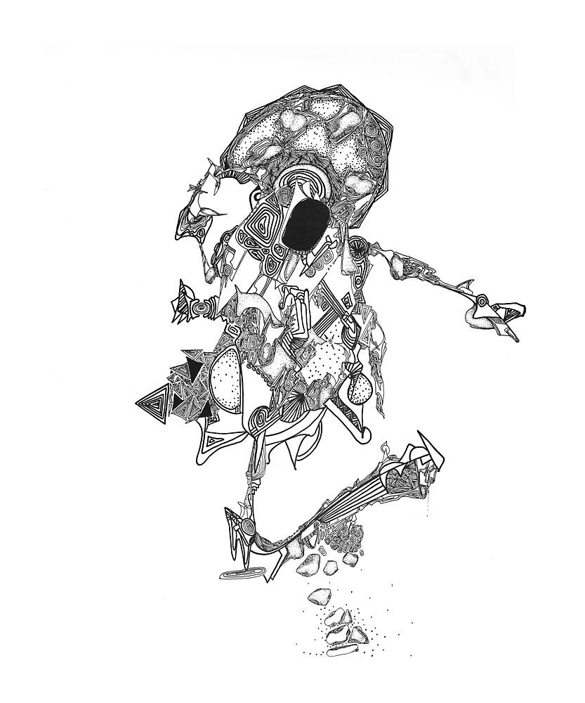 Oberon, abstract ink drawing by Regina Valluzzi