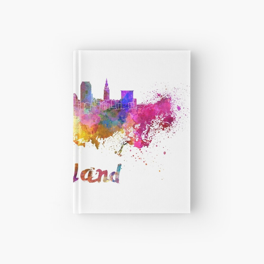 Cleveland skyline in watercolor Hardcover Journal