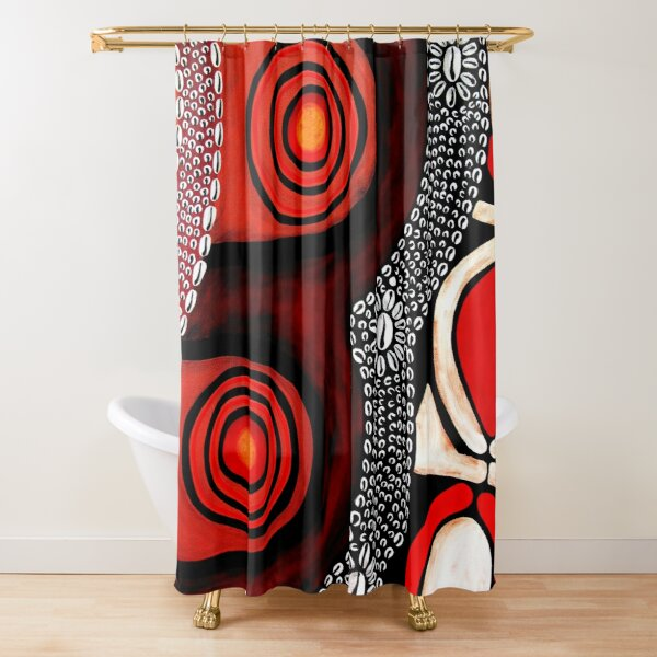 #396B - NATHALIE LE RICHE - ART and GIFTS - TRIBAL SHIELD ABSTRACT PNG - Segments Of Life II Shower Curtain