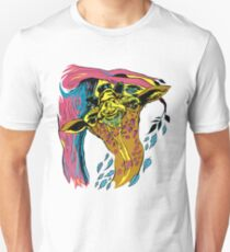 Giraffe and Tree in Tri Color Unisex T-Shirt