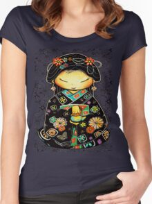 Little Multicolour Teapot Floral  Women's Fitted Scoop T-Shirt