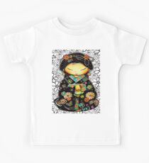 Little Multicolour Teapot Floral  Kids Tee