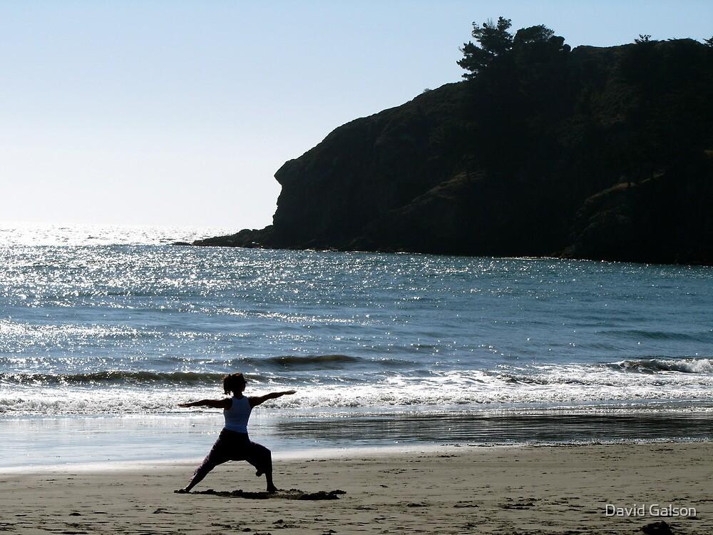 Yoga on Muir Beach by David Galson
