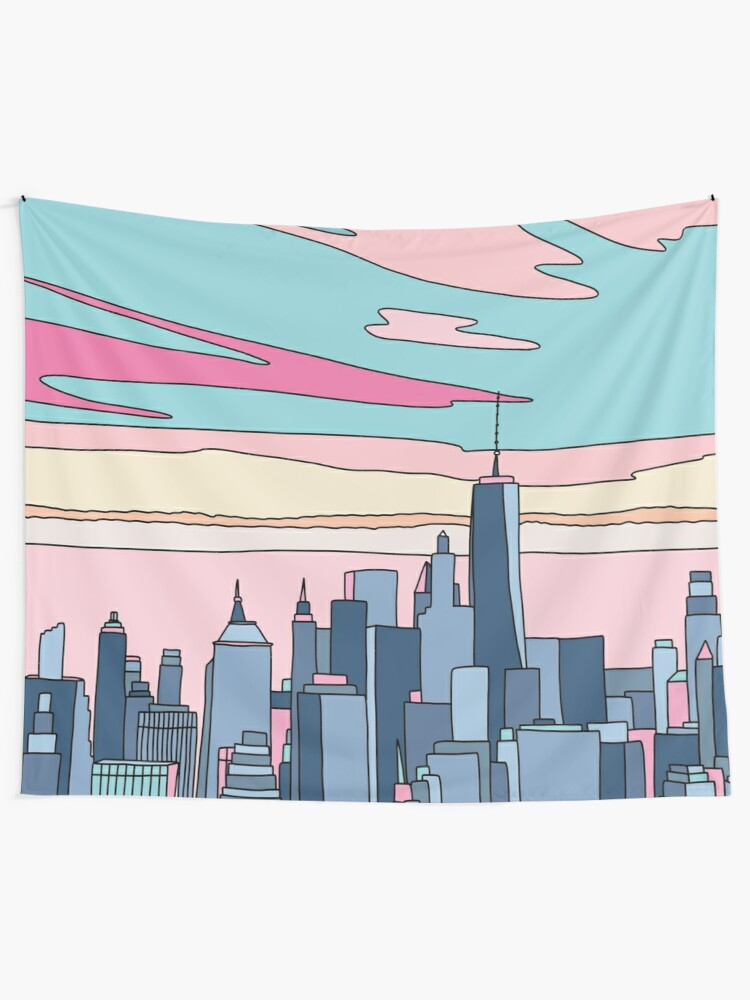Alternate view of City sunset by Elebea Wall Tapestry