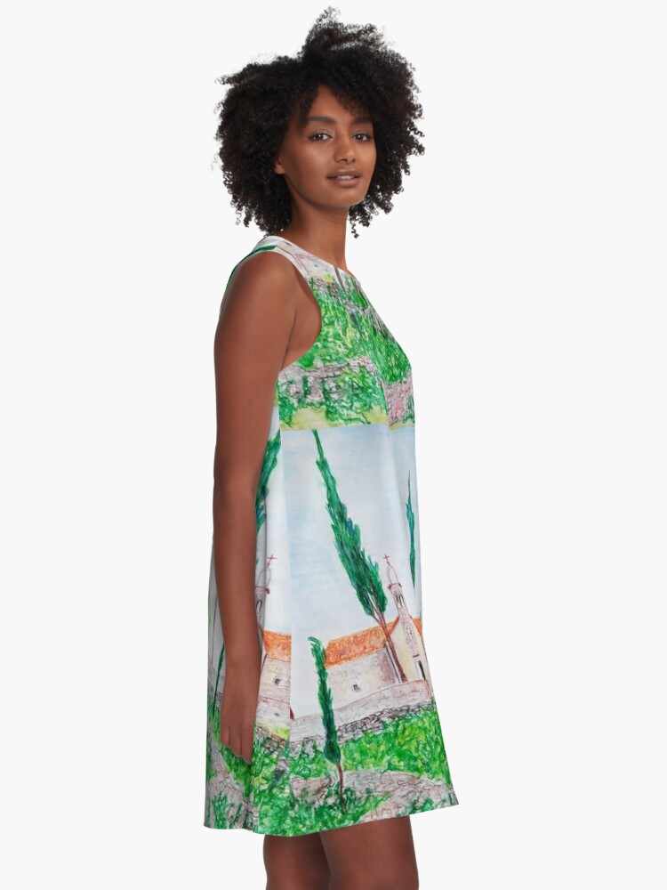 Alternate view of ISLAND HVAR WATERCOLOUR LANDSCAPE  A-Line Dress