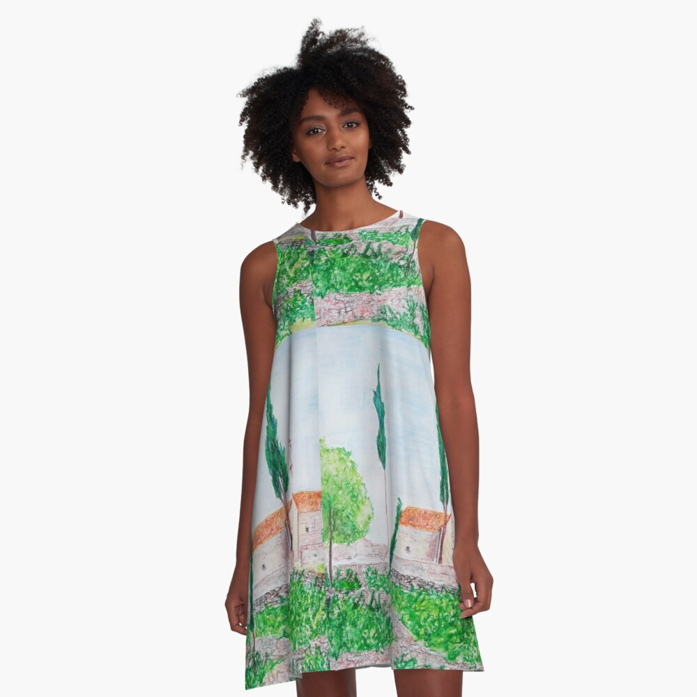 ISLAND HVAR WATERCOLOUR LANDSCAPE  A-Line Dress