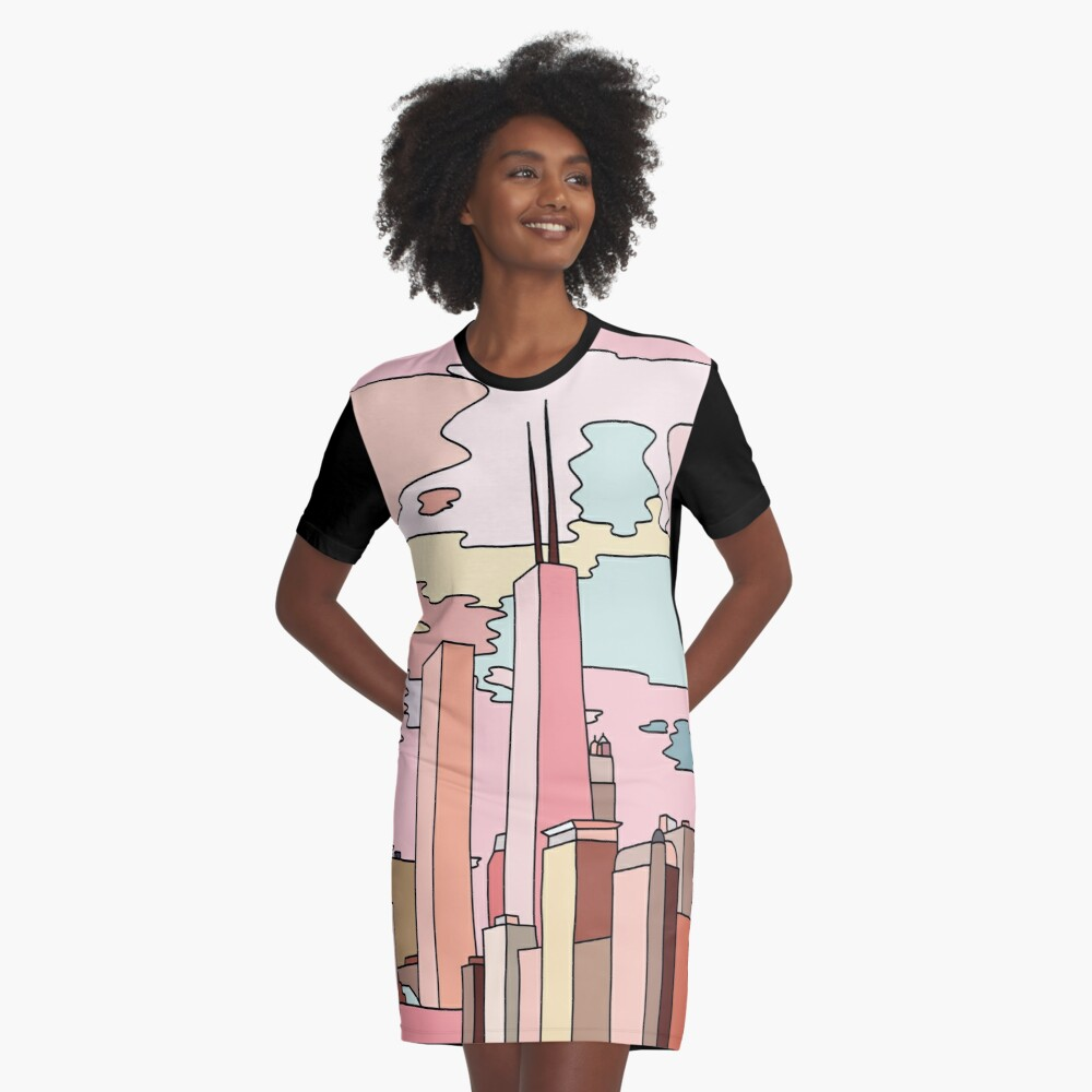 Chicago sunset by Sasa Elebea Graphic T-Shirt Dress