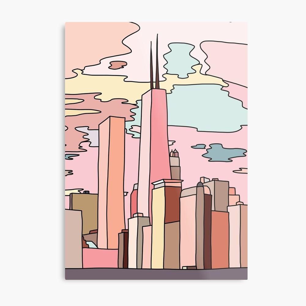 Chicago sunset by Sasa Elebea Metal Print