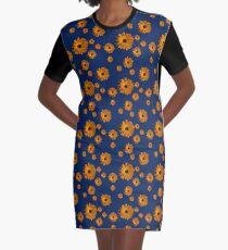 Orange power flower Graphic T-Shirt Dress