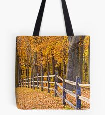 FENCE IN THE GOLDEN WOOD Tote Bag