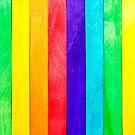 Abstrakter Regenbogen-hölzerner Zaun von MMPhotographyUK
