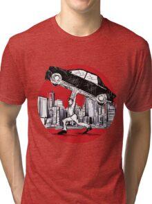 Super Pedestrian Lifting A Car Tri-blend T-Shirt