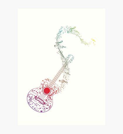 Gitarre und Musiknoten 10 Kunstdruck