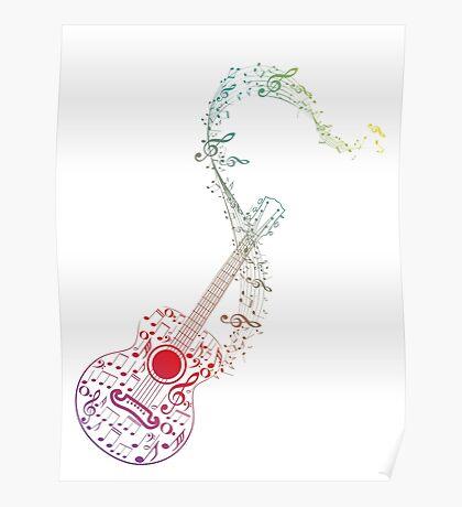 Gitarre und Musiknoten 10 Poster