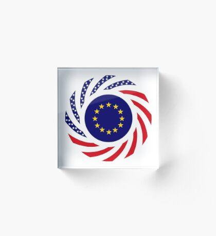 European American Multinational Patriot Flag Series Acrylic Block