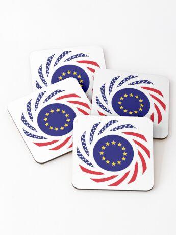 European American Multinational Patriot Flag Series Coasters