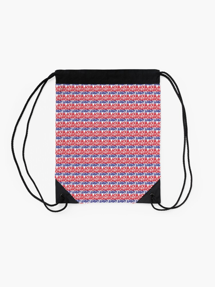 Alternate view of  #OurPatriotism: Angry Black Woman (Red, White, Blue) by Onjena Yo Drawstring Bag