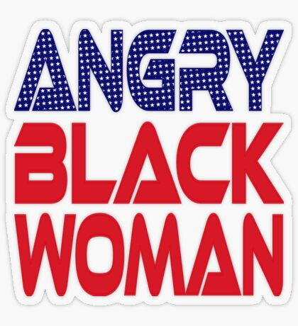#OurPatriotism: Angry Black Woman (Red, White, Blue) by Onjena Yo Transparent Sticker