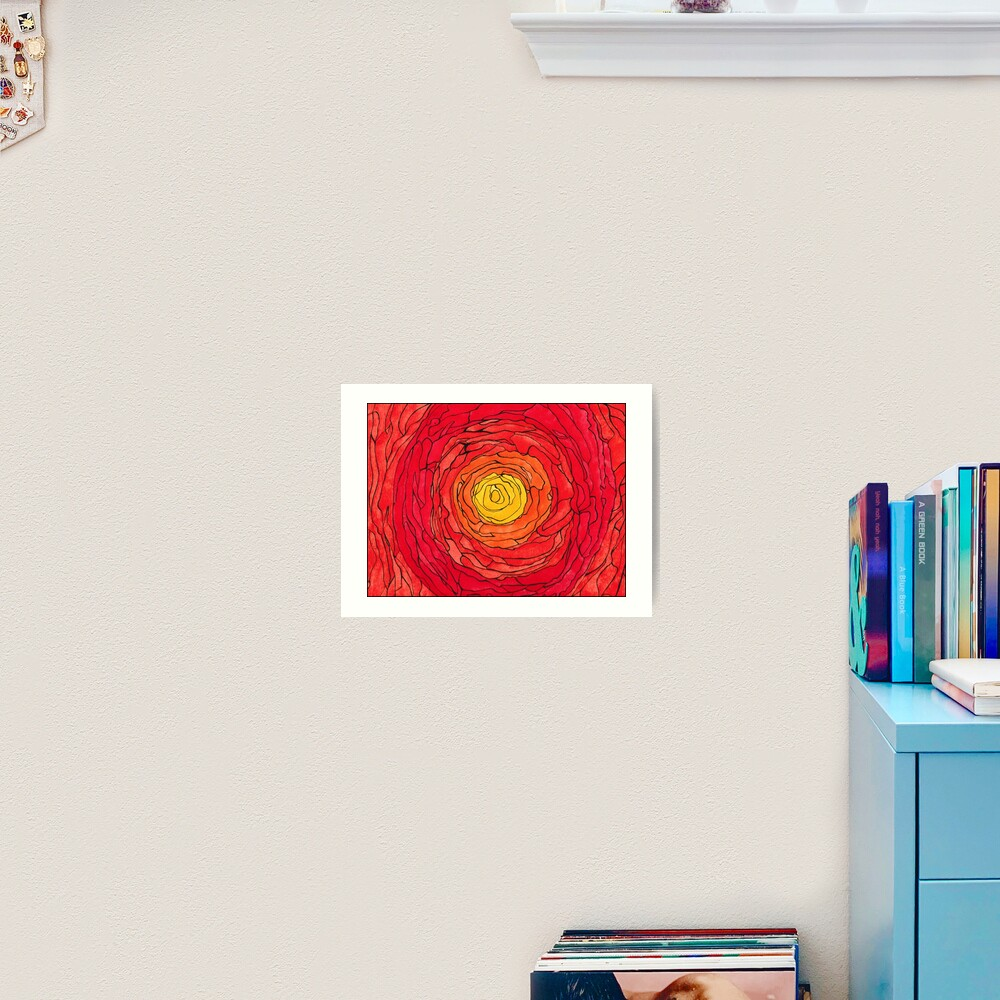 Abstract Sun Watercolor and Pen Art Print