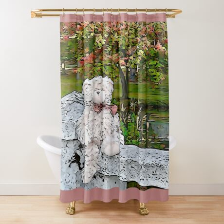 Teddy Bear by the Pond in Autumn Shower Curtain