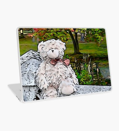 Teddy Bear by the Pond in Autumn Laptop Skin