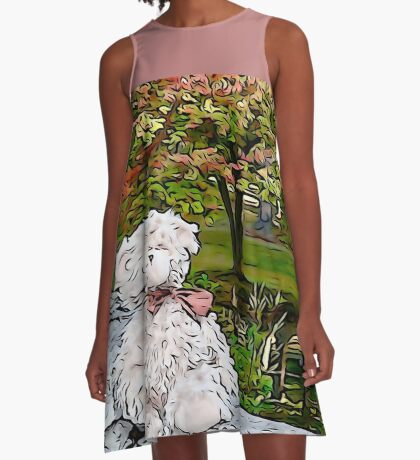 Teddy Bear by the Pond in Autumn A-Line Dress