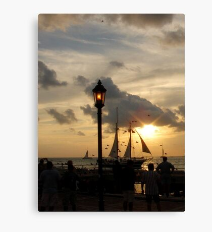 Sunset at Mallory Square in Key West, FL Canvas Print