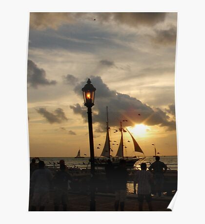 Sunset at Mallory Square in Key West, FL Poster