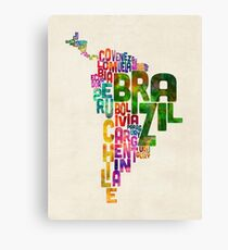 Typography Map of Central and South America Canvas Print