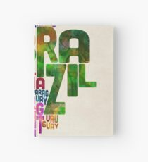 Typography Map of Central and South America Hardcover Journal