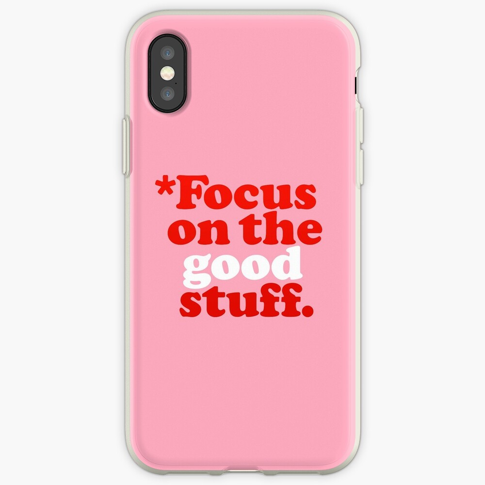 Focus On The Good Stuff {Pink & Red Version} iPhone Case & Cover