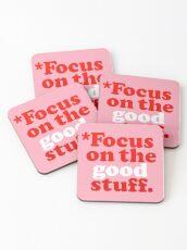 Posavasos Enfoque en las cosas buenas {Pink & Red Version}