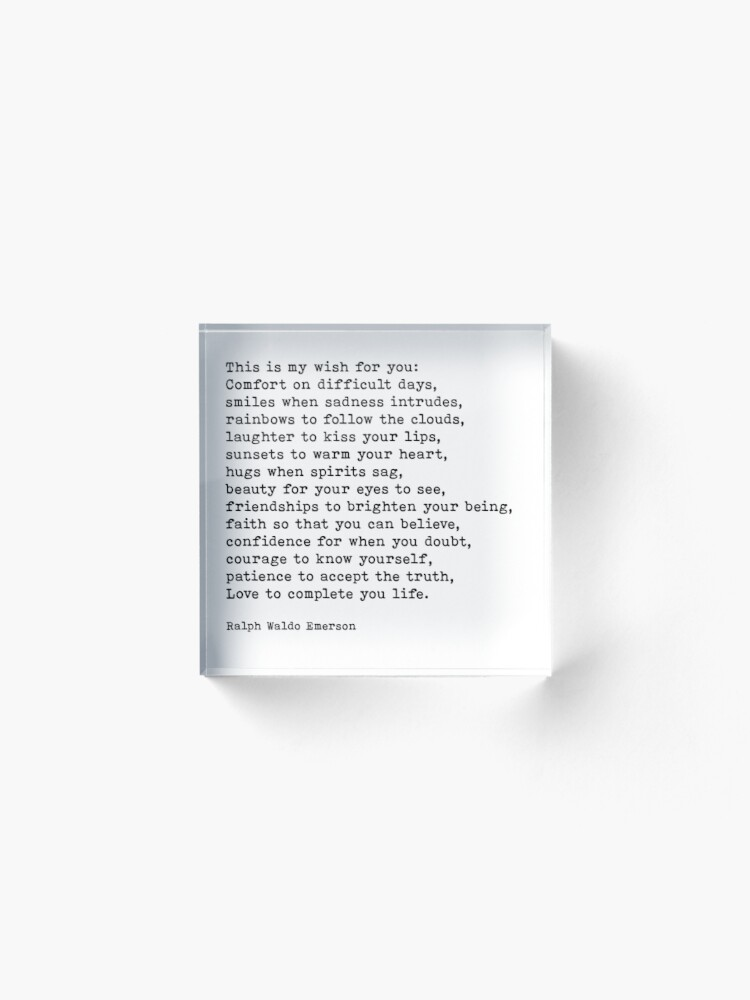 This Is My Wish For You Ralph Waldo Emerson Love Poem Quote Acrylic Block