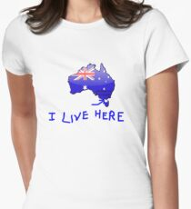 I Live Here - Melbourne VIC version T-Shirt Womens Fitted T-Shirt