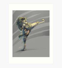 Kickboxing Wolf Link Art Print