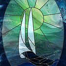 Glass Sails: stained-glass style fluid acrylic painting digital art by kerravonsen