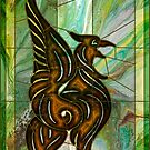 Gryphon: stained-glass style fluid acrylic painting digital art by kerravonsen