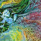 Happy Djinn: genie painting, fluid acrylic pour painting, fantasy painting by kerravonsen