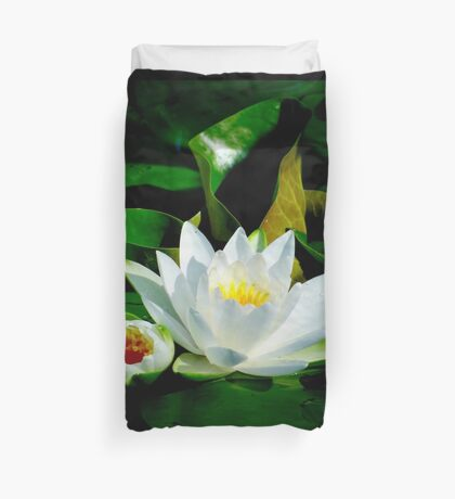 White Water Lily and Bud on Lily Pad Duvet Cover