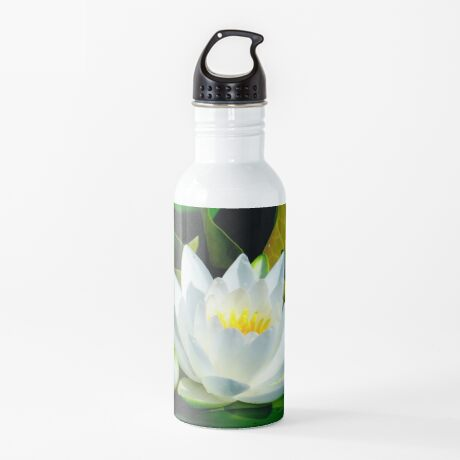 White Water Lily and Bud on Lily Pad Water Bottle