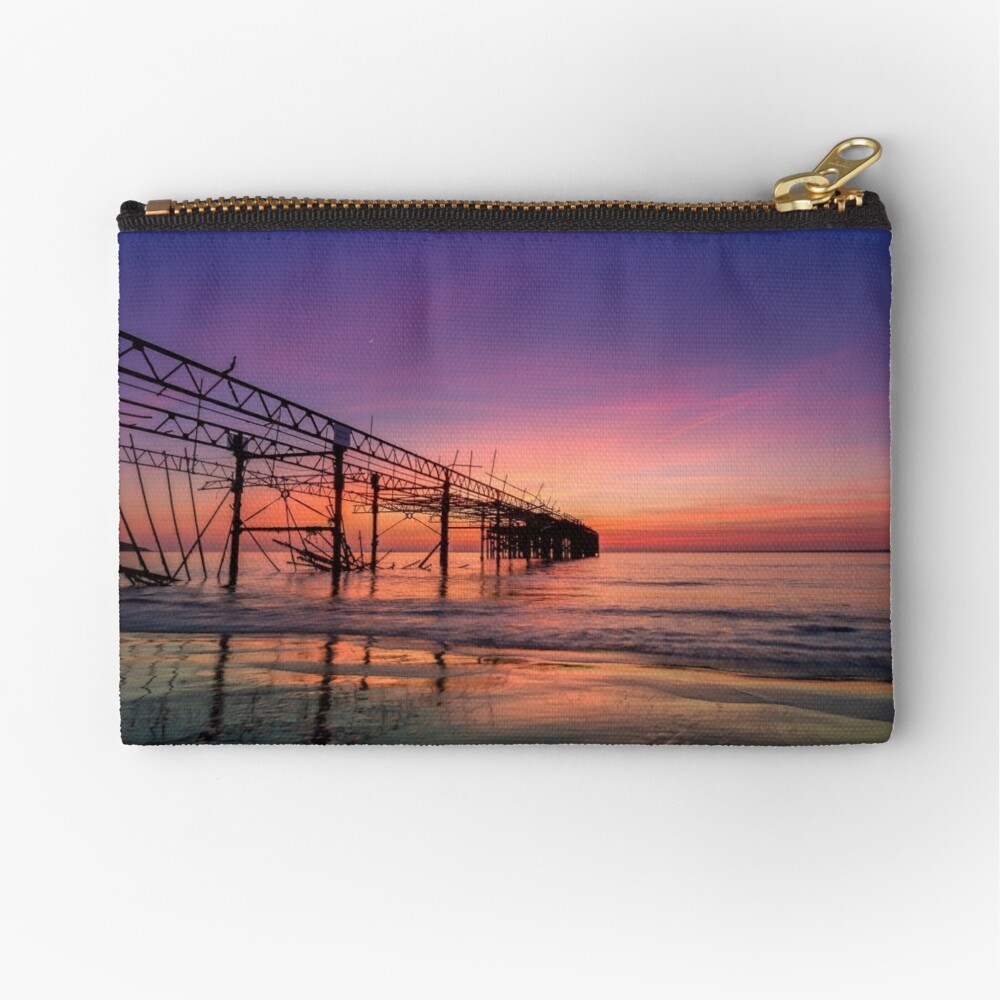 Totland Pier Caught In The Afterglow Zipper Pouch